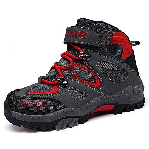 ASHION Wanderschuhe Winterschuhe Kinder Mid Schneestiefel Trekking Wanderstiefel Stiefel Jungen Baumwollschuhe(34 EU,2 Ror)
