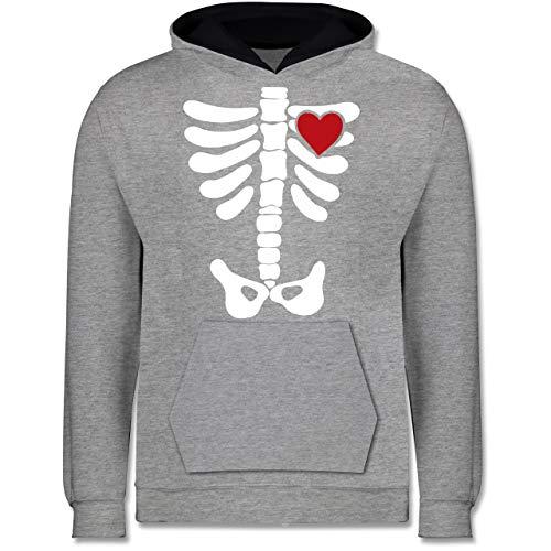 Kinder - Skelett Herz Halloween Kostüm - 7-8 Jahre (128) - Grau meliert/Navy Blau - JH003K - Kinder Kontrast Hoodie ()