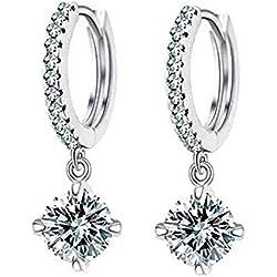 STRIPES Silver Rhodium Polish, American Diamond Hoop Earrings for Women / Girls