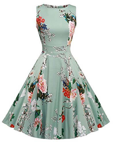 Vintage 1950 vestito da cocktail del vestito da partito picnic Floral Spring Garden Party (S, Light Green)