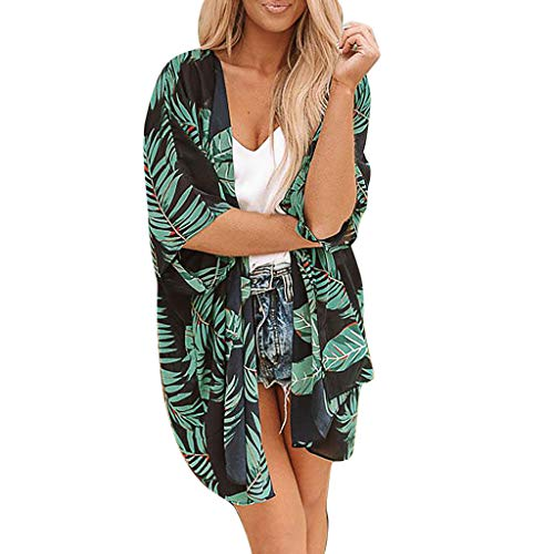 TOPKEAL Damen Tops Shirts T-Shirt Bluse Sommer Frauen Blusen Casual Frauen BläTter Druck Chiffon Beach Kimono Cardigan Bluse Schal Lose Top Outwear (Grün, M) -