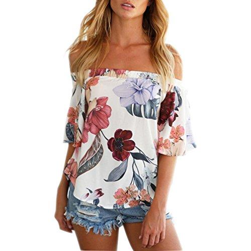 Tops Damen Ab Schulter Floral bedruckte Bluse lässigen T Shirt Von Xinan Weiß