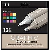 Spectrum Noir - Art + Craft Alcohol Marker Pen Graphic Nib Set - Textile (12pk)