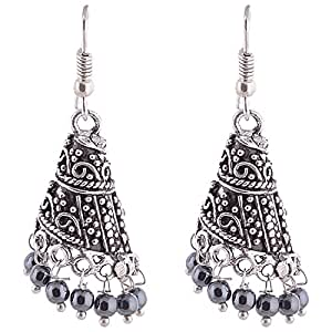 Ganapathy Gems black Oxidised Silver Jhumki Earring For Women
