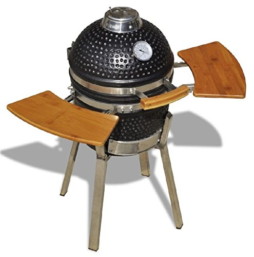 Kamado BBQ Grill Baking Ceramic Outdoor Smoker Garden Charcoal Wood Stainless Steel Oven Pit Round Egg Black Free Standing 2 Folding Wooden Shelves Table Barbeque Smoking Cooking Food Fish