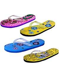 IndiStar Womens Rubber Printed Hawaii Slipper House Flip Flop(Pack Of 4) - B079TY6WWJ