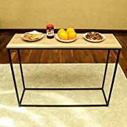 YATAI Solid Wood Computer Table With Metal Frame - TV Stand Dressing Table Stand – Metal Wall Side Table - Off