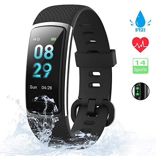 kungix orologio fitness tracker uomo donna smartwatch android ios cardiofrequenzimetro da polso fitness activity tracker smart watch 0,96 pollice schermo a colori impermeabile ip68 (nero)
