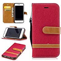 For iPhone 7 Case [with Free Screen Protector], Qimmortal(TM) Premium Soft PU Leather Cowboy Cloth Wallet Cover Case with [Kickstand] Credit Card ID Slot Holder Magnetic Closure Design Folio Flip Protective Slim Skin Cover For iPhone 7(Red)