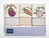 Set 3Geschirrtücher Art. INFINITY Creme, Frottee 100% Baumwolle, Größe 47x 70(aubergine, Karotte und Zwiebeln)