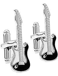 Ashton and Finch Gemelos de Guitarra eléctrica en Plata y Esmalte. Novedad, Música,