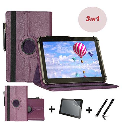 3er Starter Set für Archos Junior Tab Tablet PC Tasche + Stylus Pen + Schutzfolie - 10.1 Zoll Lila 360˚ 3in1 (Set Lila Junior)