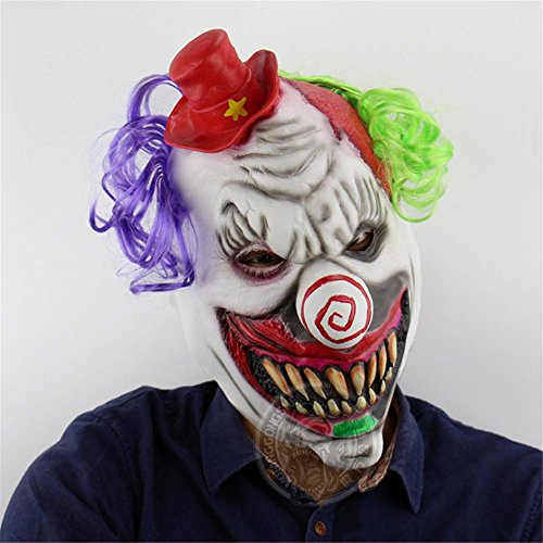 SQCOOL Horror Red Hat Clown Maske Halloween Scary Ghost Zimmer Kammer Escape Dress Up Lustige Halbe Headset Umwelt Latex (Machen Sie Einen Hund Ghost Kostüm)