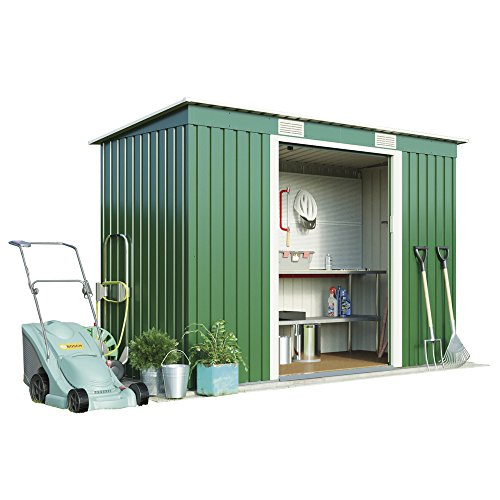 Metal Garden Shed Small Outdoor Storage 8.6 x 4 with Sliding Doors, Weatherproof Pent Roof by Waltons