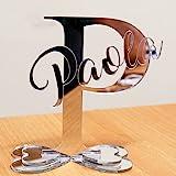 Scritta con Iniziale e Nome personalizzata in plexiglass specchiato per decorazione feste ed eventi (Specchiato Argento)