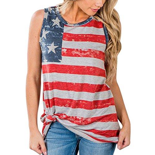 SHOBDW Sommer Plus Größe Damenmode Lose Bluse Stern Streifen USA Flagge Amerika T-Shirt Teenager Jugendliche Mädchen Tops Bluse Lose Kurzarm Tank Top Camisole (S, Z-Rot) - Günstige Teenager T-shirts