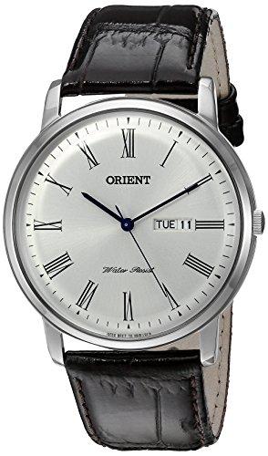 Orient uomo 'capitale version 2' al quarzo, in acciaio INOX e pelle orologio da donna, colore: marrone (Model: FUG1R009W9)