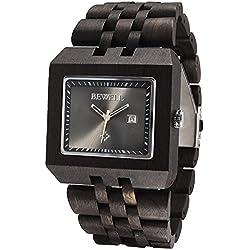 Alienwork Quartz Watch natural solid wood Wristwatch Handmade Black sandalwood black black UM017A-01