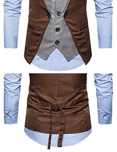 Leisure Herren Anzugweste Gentleman Basic Mode Einreiher vier Knöpfe 2 in 1 Weste Braun 1