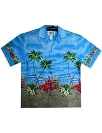 KY's| Chemise Hawaïenne D'Origine | Pour Hommes | S - 8XL | Manche Courte | Poche Avant | Hawaiian-Imprimer | Oldtimer | Surfboards | Bleu