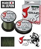 Daiwa J-Braid 8 Braid 0.13mm, 8.0kg / 18.0lbs, 1500m dunkelgrün, rund geflochtene Angelschnur