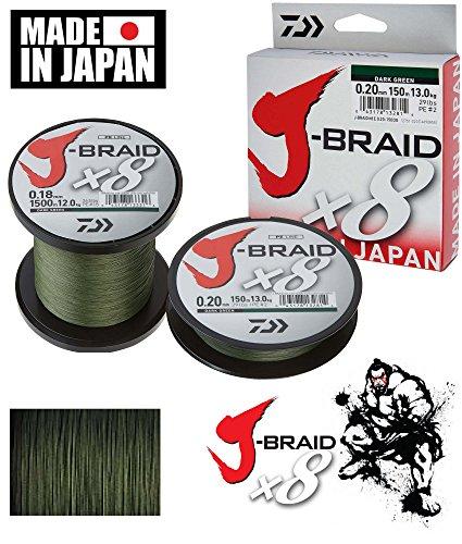 Daiwa J-Braid 8 Braid 0.16mm, 9.0kg / 20.0lbs, 1500m dunkelgrün, rund geflochtene Angelschnur