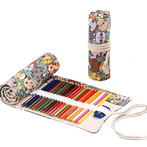 Portamatite per 48 matite portapenne leggero carino gattino per matite colorate pennarelli custodia scuola di pennarelli astuccio arrotolabile
