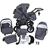 Stroller - Pram Complete with Car Seat and Carrycot Bomo 3in1 set (V72)