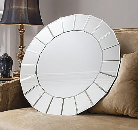 Trento Circular Mirrored Panel Modern Round Wall Mirror - 28