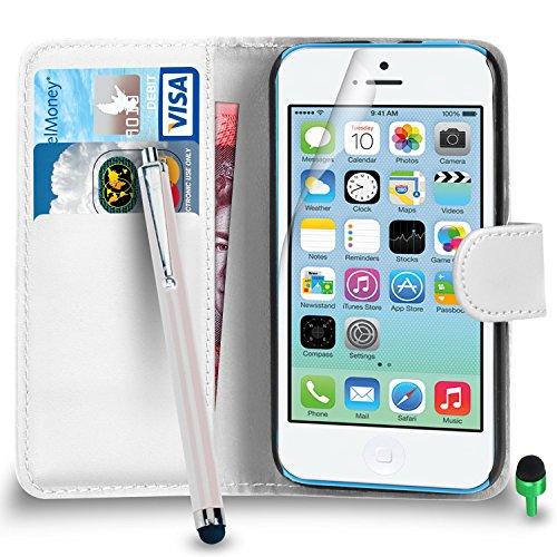 Apple iPhone 5C hülle Prämie Leder WEIß Brieftasche Flip Fall Abdeckung mit Groß Tippen Sie auf Stift GRÜN Kappe Bildschirmschutz & Poliertuch