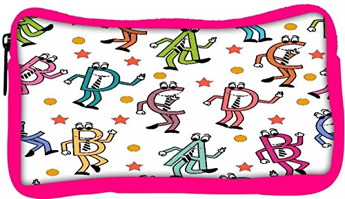 Snoogg Eco Friendly Canvas Dancing Alphabets Designer Student Pen Pencil Case Coin Purse Pouch Cosmetic Makeup Bag