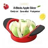 Apfelschneider, Entkerner, Schneidhilfe mit 8Klingen, für bis zu 10,4cm große Äpfel, ultrascharfe Edelstahl-Klingen mit ergonomischem, rutschfestem Silikon-Griff für Äpfel in fast jeder Größe