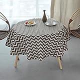 LWF Europäische Tischdecke Runder Tisch aus Baumwolle - (Striped Circle Tischdecke) Küche Wohnzimmer Couchtisch Tischdecke Runde Tischdecke (Farbe : B, größe : Round -120cm)