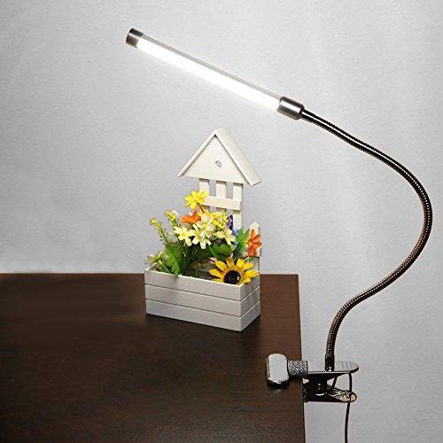 Eastlion Flexible Augenschutz LED Leselicht 6W 180 LED Clip Leuchten Leselampe am Bett Startseite Dimmbare Tabelle USB Augenpflege Klemmlampe Weiß Weiß-schreibtisch-lampe Clip