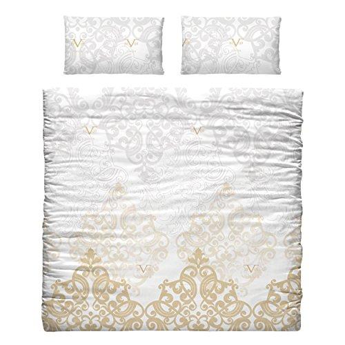 Versace 19v69- Bettdecken- und Kopfkissenbezug für Betten, aus Polycotton, Goldfarben, 35x 25x 25cm