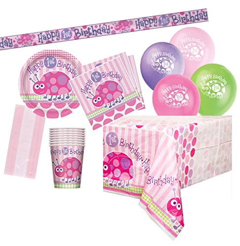 Unique Party Supplies 1. Geburtstag Pink Marienkäfer Partyartikel, - 30. Party Geburtstag Supplies Kit