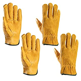Garden Gloves Thorn Proof, Xndryan 2 Pairs Mens Womens Gardening Gloves, Flexible and Durable, Rubber Reinforced Wrist Leather Work Gloves (Large)