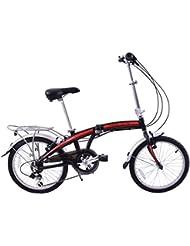 "Ammaco Pakka Lite 20"" Wheel Alloy Folding Commuter Bike Lightweight 6 Speed Black/Red"