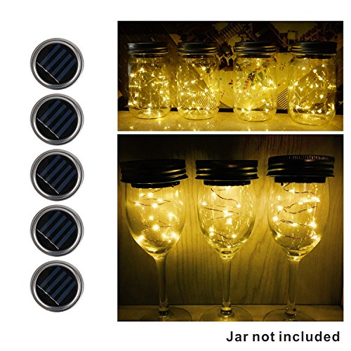 5 Stück LED Solar Mason Jar Licht Lids Insert 10 LED String Fairy Lichter für Garten Patio Party Hochzeit Weihnachten Dekorative Beleuchtung (Warmes Weiß) (Solar Led Fairy Lichter)