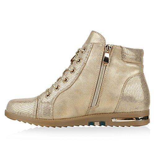 19998a5cf704ea Gefütterte Damen Sneaker-Wedges Zipper Glitzer Turnschuhe Gold ...