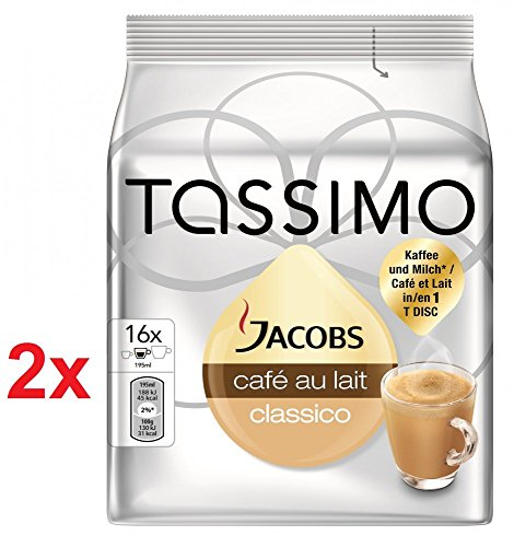 Choose TASSIMO JACOBS CAFE AU LAIT - Pack of 2 (Total 32 Servings, 32 t-discs) T-disc Capsules Variety Pack / coffee pods - Tassimo