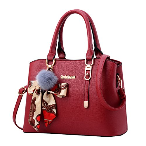 Womens Luxury Handbag Style Tote Elegant Shoulder Bag -  Wine Red