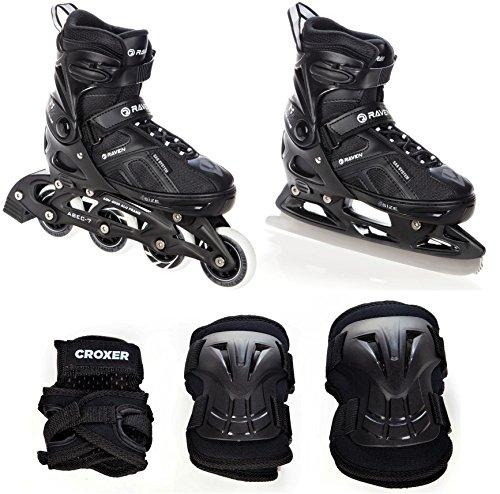 2in1 Schlittschuhe Inline Skates Inliner Raven Pulse Black verstellbar + Schützer Croxer Beetle Black (40-43(25cm - 27,5cm) + Schützer M)