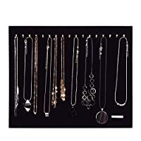 Hotgod Black Velvet Necklace Bracelet Chain Jewelry Display Holder Stand Organizer(Holds up to 17 Necklaces,Necklaces Not Included)
