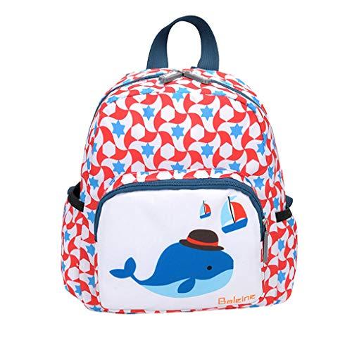 e,Die Tasche Der Niedlichen Karikaturtierdruck Kinder Multifunktionale Schülertasche Handtasche(Rosa,Groß) ()
