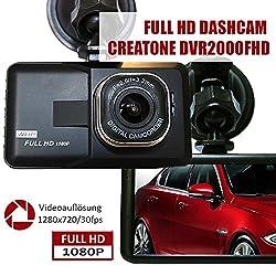 CREATONE DVR2000FHD Autokamera Dashcam FULL HD 1920x1080 mit 30fps | G-Sensor | Bewegungserkennung Loop-Recording | 8cm Farbdisplay l Super scharfes Objektiv