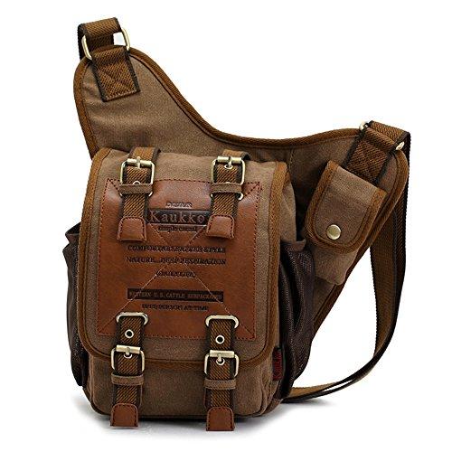 Herren Jungen Vintage Segeltuch-Schulter Military Messenger Bag Wander Taschen
