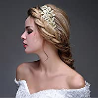 Handmade Gold Headband by OUMOU Vintage Pageant Princess Crown Fashion Pearl Bridal Hair Accessories for Wedding Prom 1 Piece - Goddess Leaf Branch