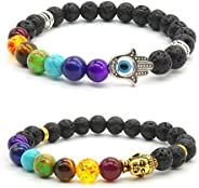 2x Men Woman Bracelet Set Buddha Bracelet Partner Bracelet Colored Agate Stone Bracelet Lovers