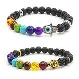 Achat Perlen 7 Chakras Energie Stein Armband Yoga Healing Balance Stein Armkette Elastisches Steinarmreif (Colour3)